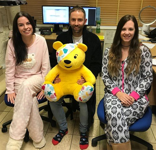 Children in need pjs slipper day team onsies pudsey bear