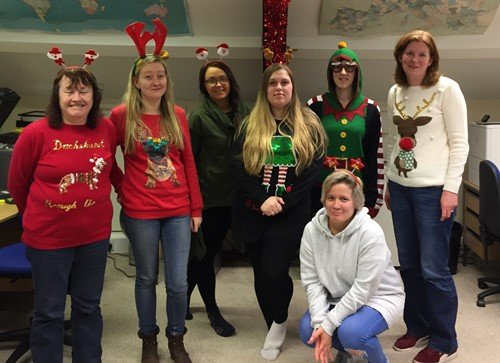 team Christmas jumper charity fundraising