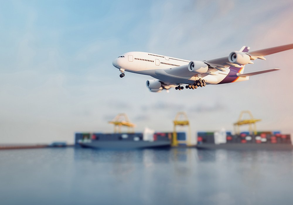 plane air take off shipping cargo