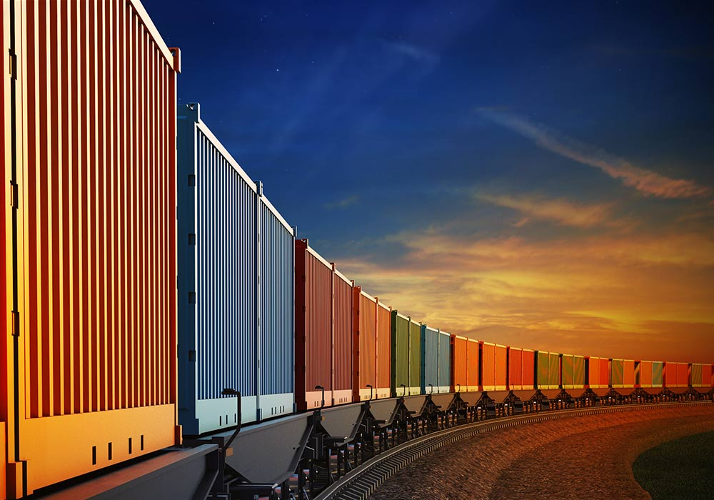 rail train cargo containers sunset